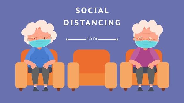 Distanciamento social de idosos mantendo distância para risco de infecção e doença