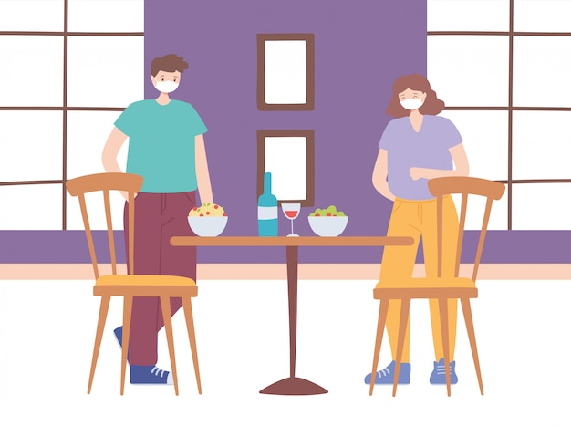 Distanciamento social de restaurante, distância para proteger as pessoas de coronavírus durante a comida, pandemia