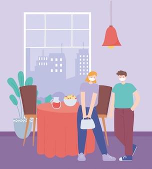Distanciamento social de restaurante, homem e mulher com prevenção de máscara médica para risco de infecção e doença, pandemia