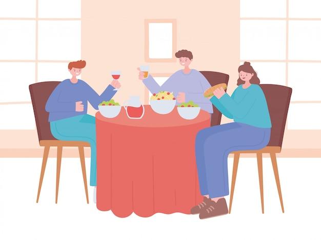 Distanciamento social de restaurante, pessoas comendo e bebendo mantêm uma distância segura, pandemia, prevenção de infecção por coronavírus
