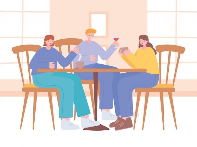 Distanciamento social de restaurante, pessoas de orientação que mantêm distância na mesa de comida, pandemia, prevenção de infecção por coronavírus