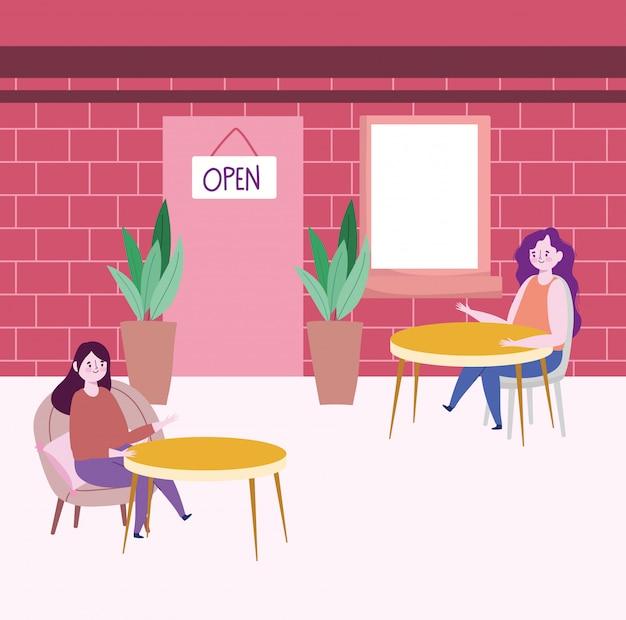 Distanciamento social de restaurantes, prevenção de mulheres por risco de infecção e doença, coronavírus