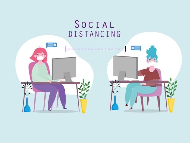 Distanciamento social de trabalho