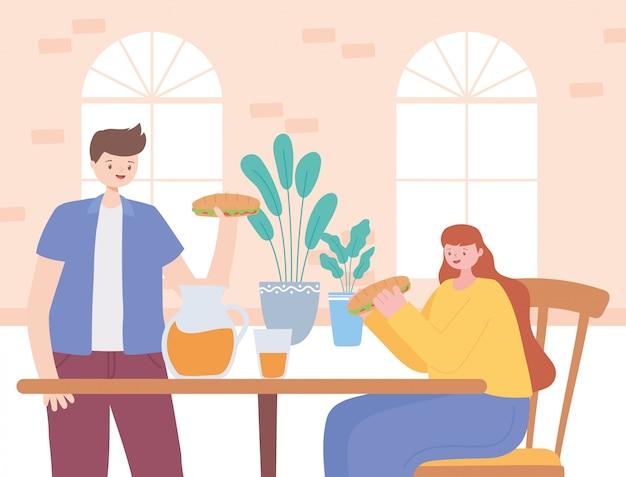 Distanciamento social do restaurante, casal comendo comida na mesa, pandemia, prevenção de infecção por coronavírus
