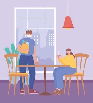 Distanciamento social do restaurante, homem e mulher com xícaras de café afastam-se um do outro para evitar surtos de doenças, pandemia
