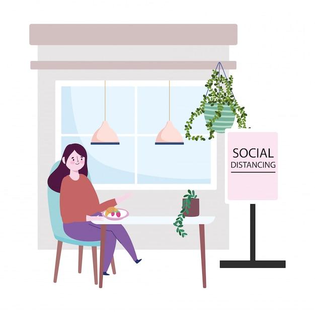 Distanciamento social do restaurante, mulher comendo frutas na mesa, coronavírus de prevenção