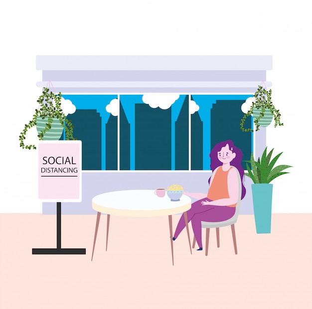 Distanciamento social do restaurante, mulher comendo macarrão na tigela mantém uma distância segura, prevenção de coronavírus
