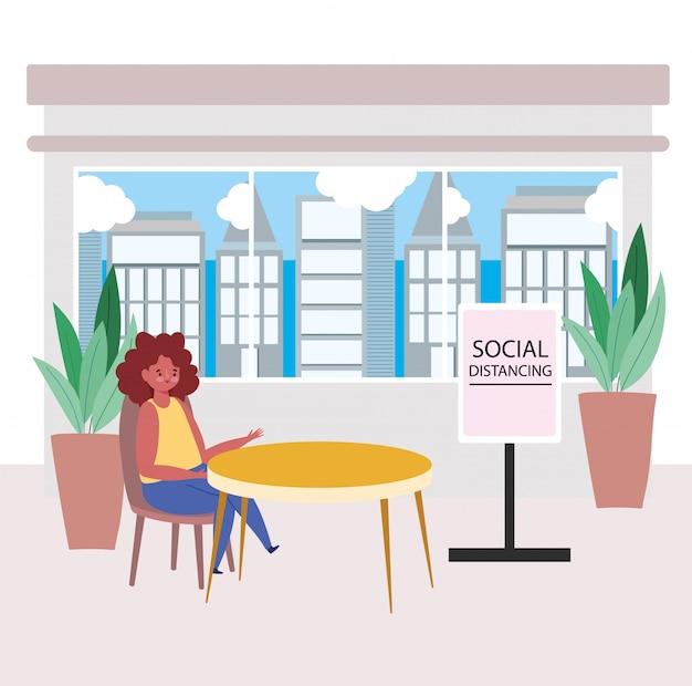 Distanciamento social do restaurante, mulher senta uma loja de comida à distância, coronavírus de prevenção