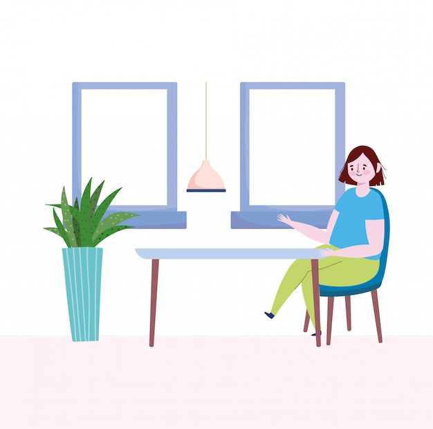 Distanciamento social do restaurante, mulher sentada mantém uma distância segura, prevenção de coronavírus