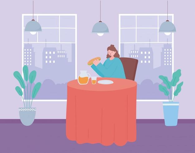 Distanciamento social do restaurante, mulher sentada no restaurante comendo sozinha, prevenção de infecção por coronavírus
