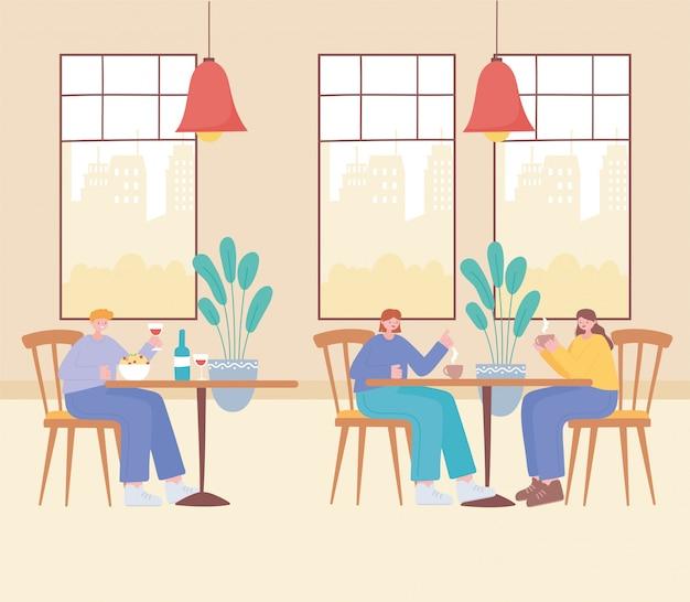 Distanciamento social do restaurante, mulheres e um homem sentam-se à distância nas mesas, prevenção de infecção por coronavírus