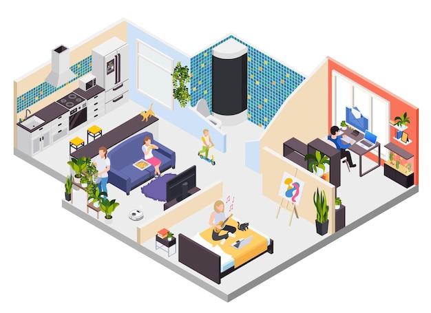 Distanciamento social em casa fazendo atividades diferentes
