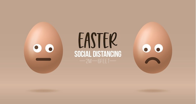 Distanciamento social em emoji de páscoa