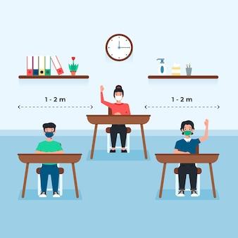 Distanciamento social em escola pública