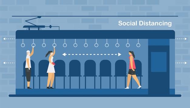 Distanciamento social em trem elétrico. sente-se e afaste-se das pessoas doentes. salve a vida do surto de coronavírus. desenhos de ilustração em estilo simples.
