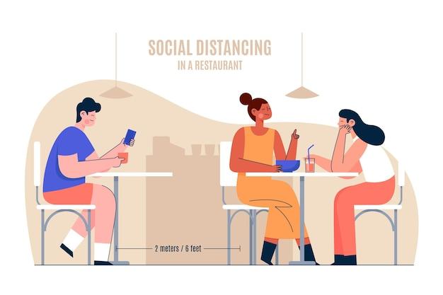 Distanciamento social em um conceito de restaurante