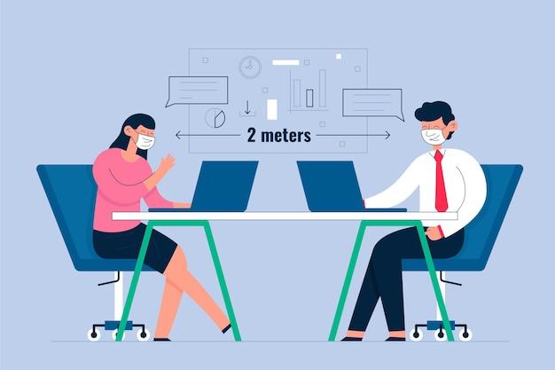 Distanciamento social em um conceito de reunião