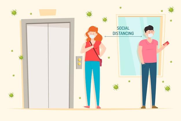 Distanciamento social em um elevador Vetor Premium