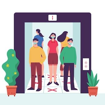 Distanciamento social em um elevador
