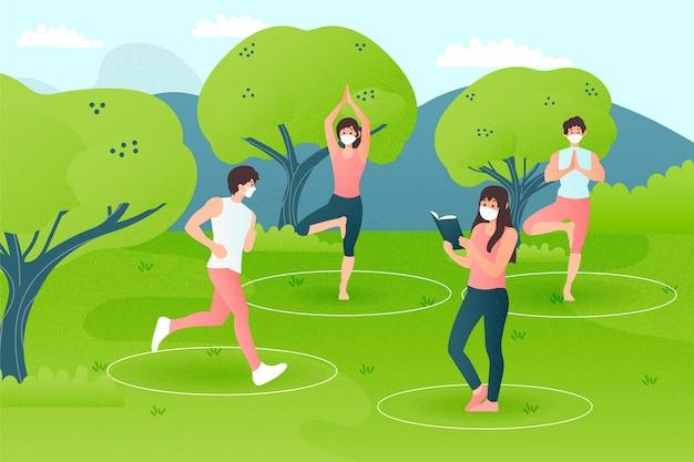 Distanciamento social em um parque