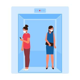 Distanciamento social em um projeto de elevador Vetor grátis