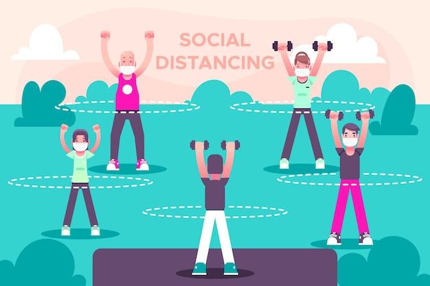 Distanciamento social em um projeto de parque Vetor grátis