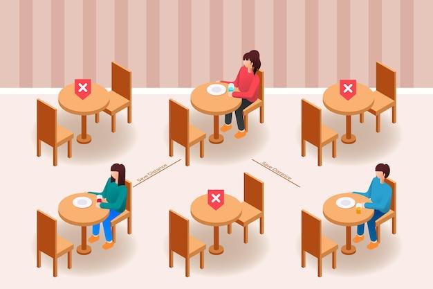 Distanciamento social em um restaurante