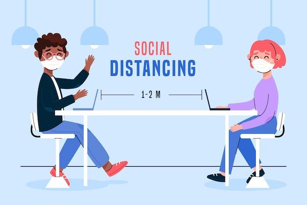 Distanciamento social em uma ilustração de reunião