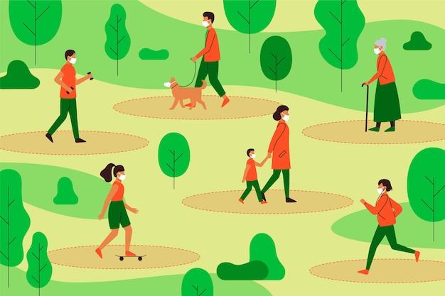 Distanciamento social em uma ilustração do parque