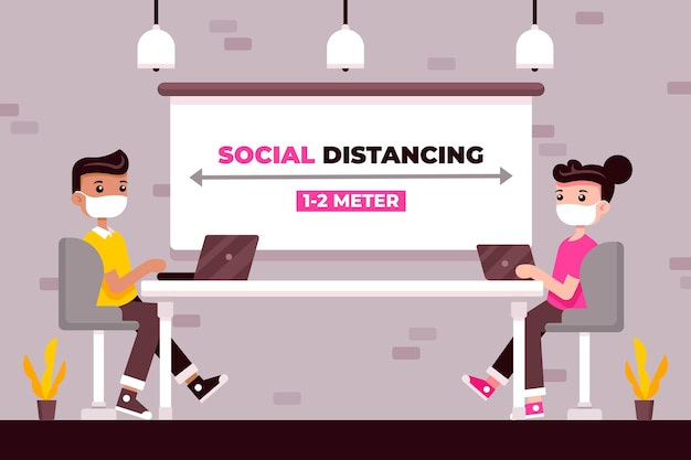 Distanciamento social em uma reunião