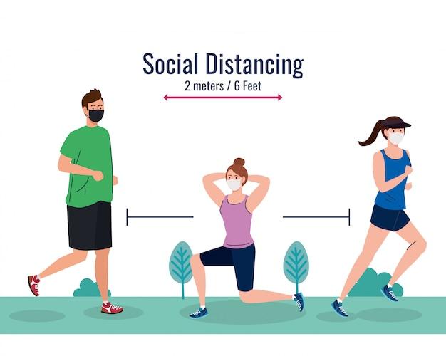 Distanciamento social entre homem e mulher com máscaras correndo no parque