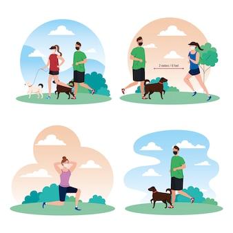 Distanciamento social entre homens e mulheres com máscaras no parque