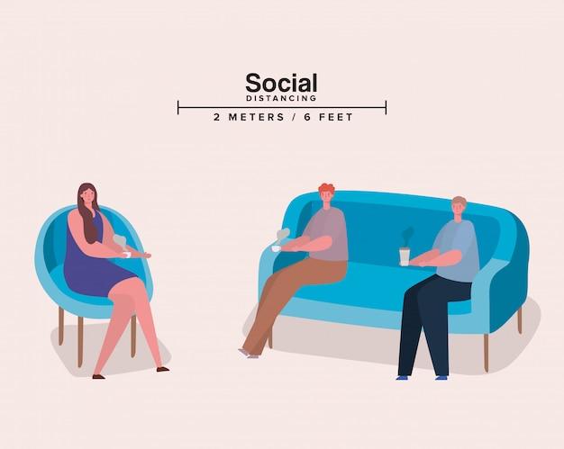 Distanciamento social entre pessoas na cadeira e sofá com canecas de café