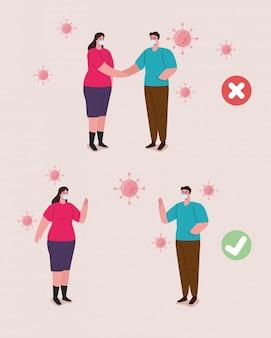 Distanciamento social feito da maneira errada e correta, pessoas mantendo distância segura, prevenção contra o coronavírus 19