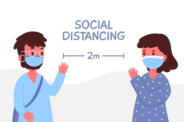 Distanciamento social ilustração conceito