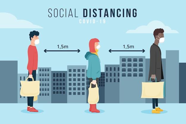 Distanciamento social ilustrado conceito