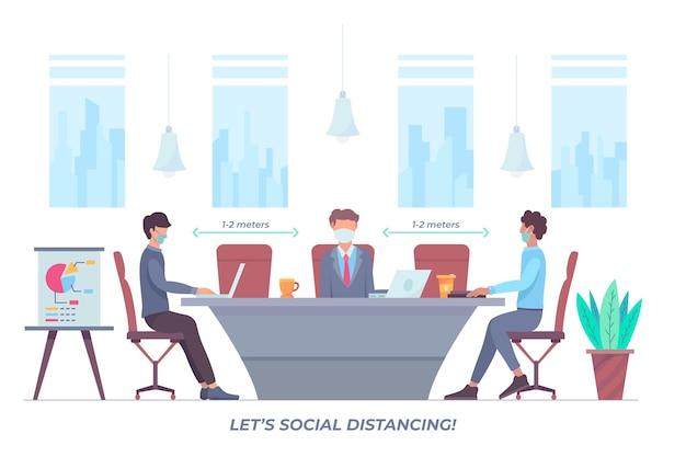 Distanciamento social ilustrado em uma reunião
