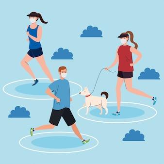 Distanciamento social, jovens vestindo máscara médica, praticando esporte ao ar livre, prevenção de coronavírus