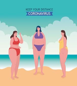 Distanciamento social na praia, as mulheres mantêm distância, novo conceito normal de praia no verão após coronavírus ou cobiçada 19