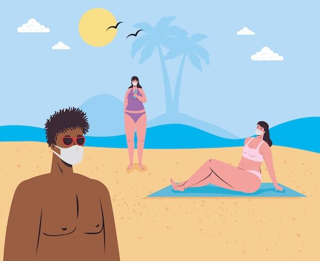 Distanciamento social na praia, as pessoas que usam máscara médica mantêm distância na praia, novo conceito normal de praia no verão após coronavírus ou cobiçado 19