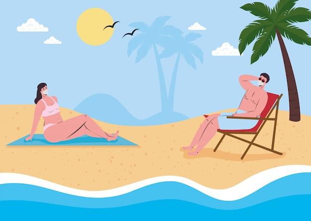 Distanciamento social na praia, casal usando máscara médica mantém distância na praia, novo conceito normal de praia no verão após coronavírus ou cobiçado 19