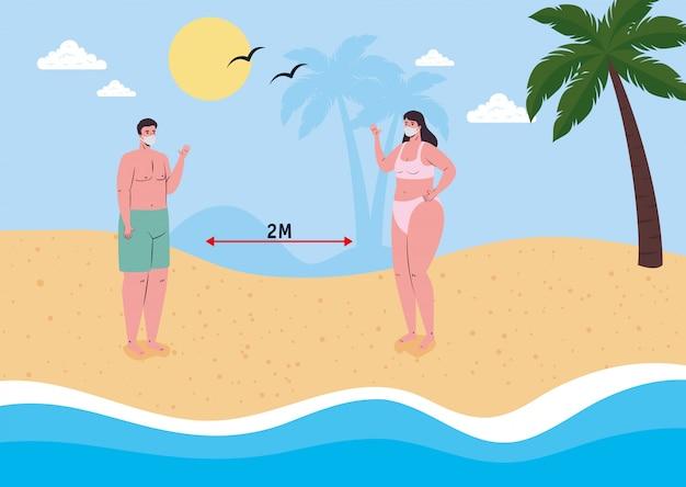 Distanciamento social na praia, casal usando máscara médica na praia, novo conceito normal de praia no verão após coronavírus ou cobiçado 19