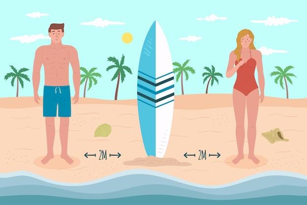 Distanciamento social na praia