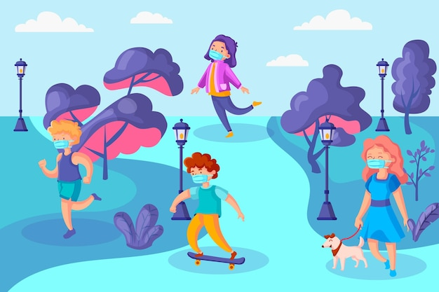 Distanciamento social no parque