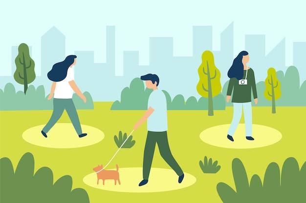 Distanciamento social no projeto do parque