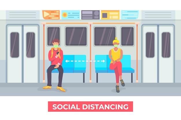 Distanciamento social no transporte público ilustrado