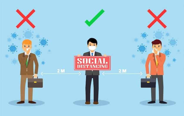 Distanciamento social. novo normal no trabalho de trabalho.