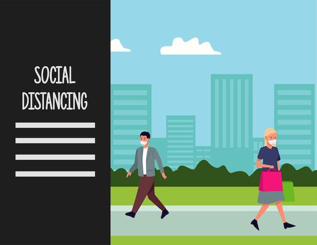 Distanciamento social para campanha de prevenção covid19 com casal usando máscaras médicas na cidade