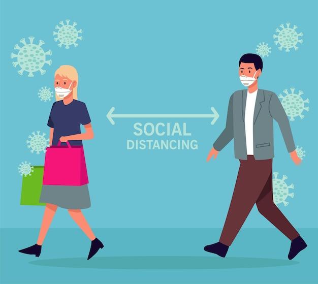 Distanciamento social para campanha de prevenção covid19 com casal usando máscaras médicas