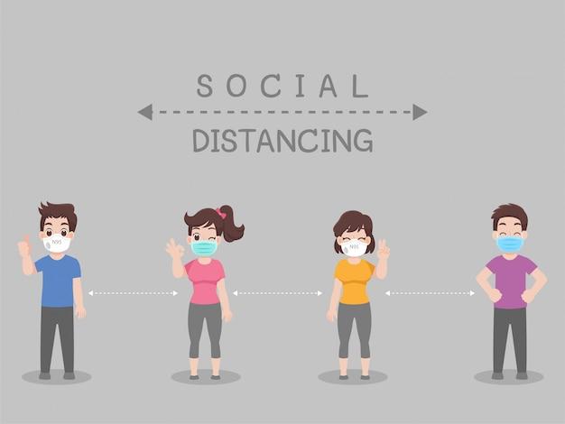 Distanciamento social, pessoas mantendo distância de risco de infecção e doença